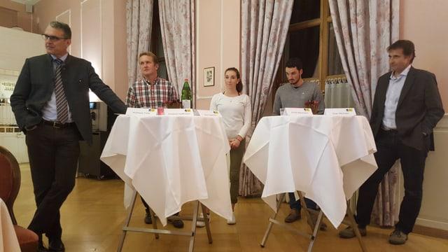 Il podium; da sanestra Andreas Felix, Ambrosi Hoffmann, Aita Gasparin, Jonas Baumann e Gian Michael