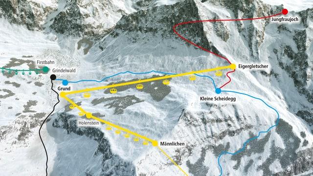 Grafik der geplanten Bahnen in Grindelwald.