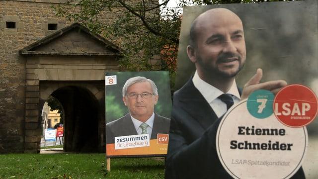 Jean-Claude Juncker und Etienne Schneider auf Wahlplakaten.