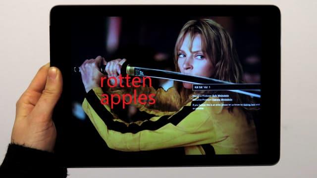 Ein Screen mit einem Szenebild aus Kill Bill und der Schrift «rotten apples».