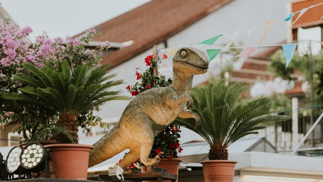 Kleine Palmen und eine grosse Dinosaurierfigur