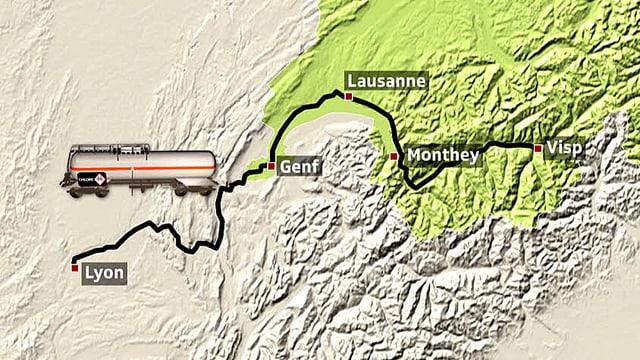 Karte der Schweizer Chlortransporte.
