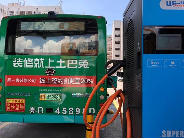 Bus an Tankstelle.