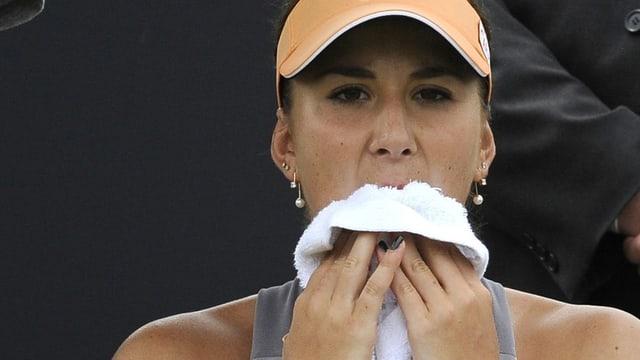 Belina Bencic durant ina pausa.