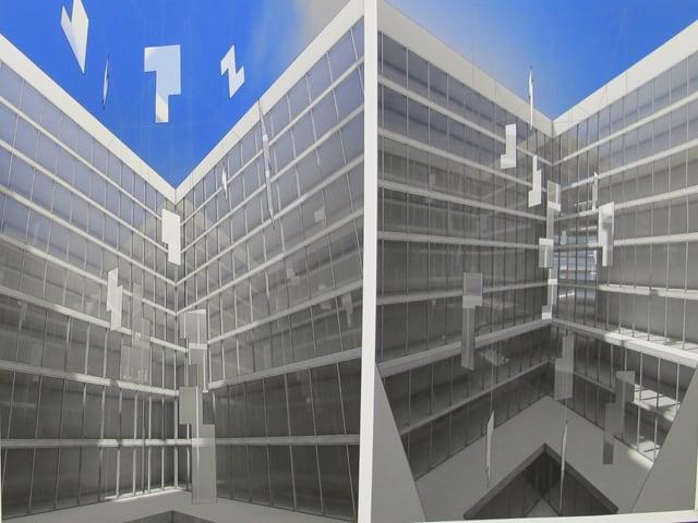 Projektvisualisierung Mobile im Innenhof