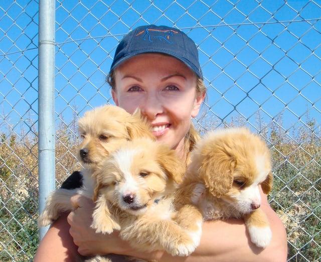 Susy Utzinger mit Hundewelpen
