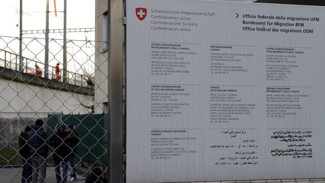 In dals centers federals d'asil per la registraziun.