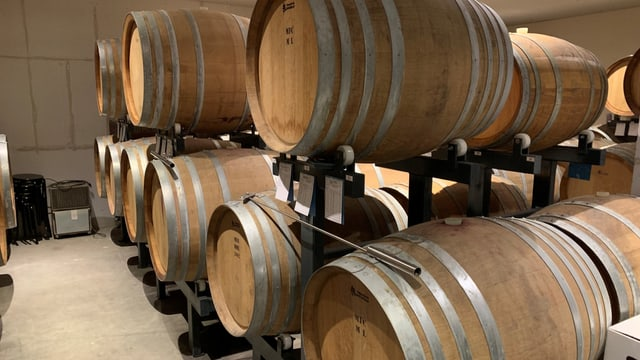 Im Barrique-Keller lagern in Holzfässern die hochstehenden Weine von Christian Herzogs Weingut.