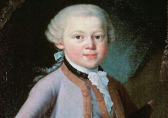 Wolfgang Amadeus Mozart im Porträt als Junge.