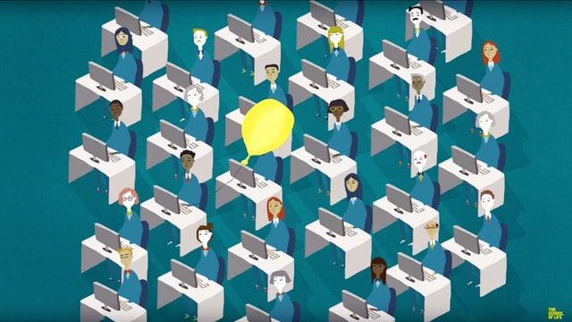 Eine Illustration: viele Leute sitzen an ihrem Schreibtisch. Vor ihnen ist ein Bildschirm.