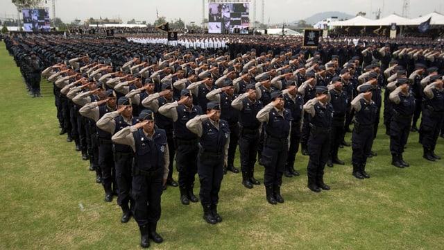 Polizisten in Reih und Glied