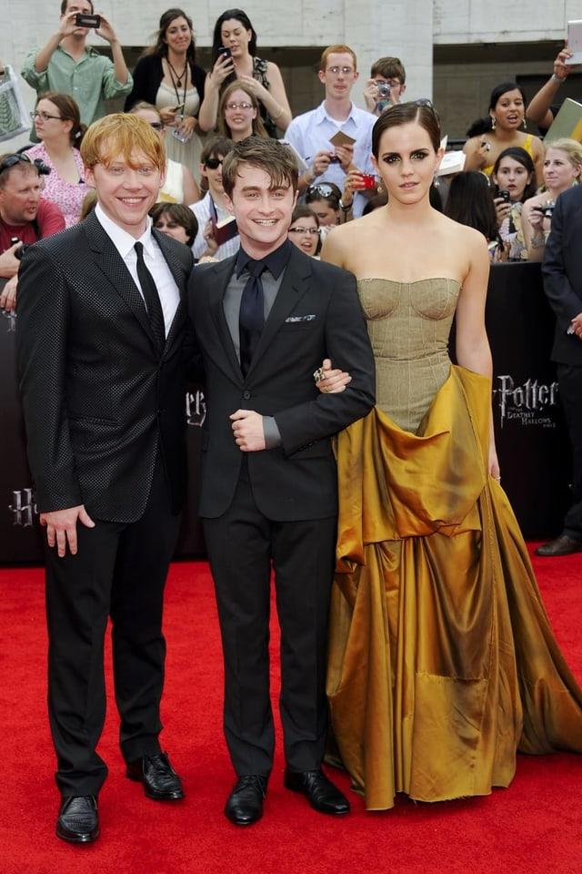 Rupert Grint, Daniel Radcliffe und Emma Watson 2011 an der letzten Potter-Premiere.