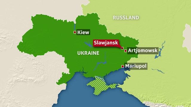 Karte der Ukraine, unter anderem ist die Stadt Slawjansk im Osten eingezeichnet.