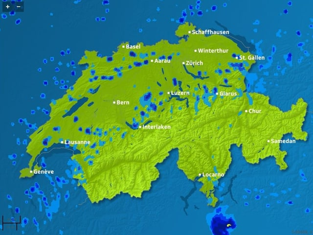 Regen im Jura und an den Voralpen.