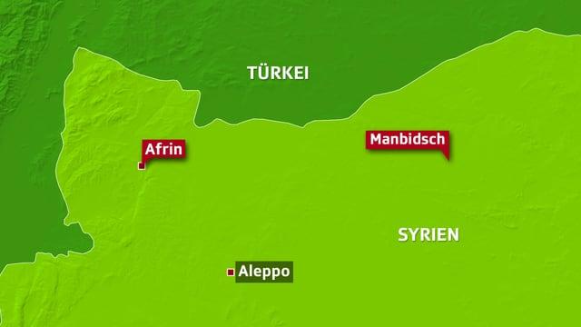 Karte der Provinz Afrin.