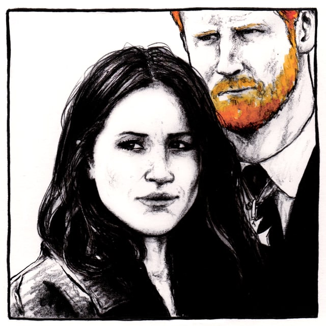 illustraziun da Meghan e Harry cun barba cotschna.