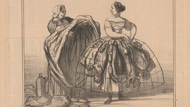 Eine Frau trägt einen Reifrock, darunter versteckt sie Würste und Fleisch.