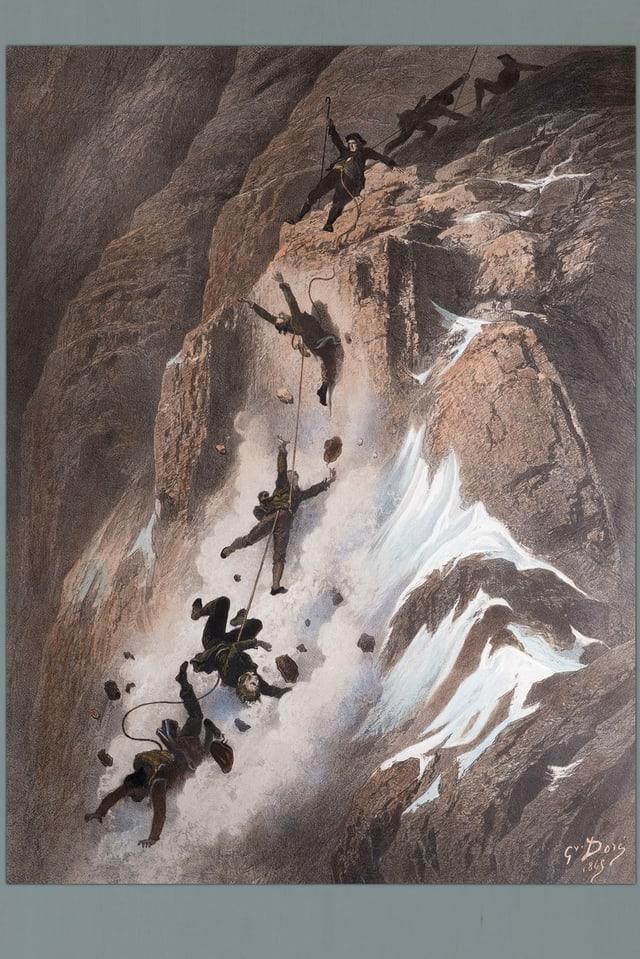 eine Zeichnung von mehreren Bergsteigern, die beim Abstieg stürzen