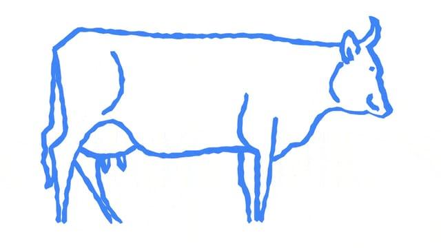 Skizze einer Kuh und ein Vorschlag dazu von Auto Draw: Eine Kuh.