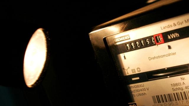 Eine Taschenlampe beleuchtet einen Stromzähler