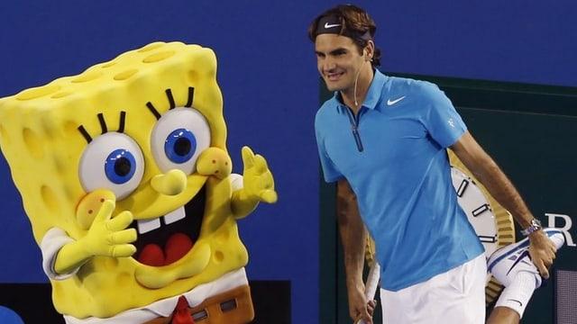 Roger Federer posiert mit der Comicfigut «Schwammkopf».