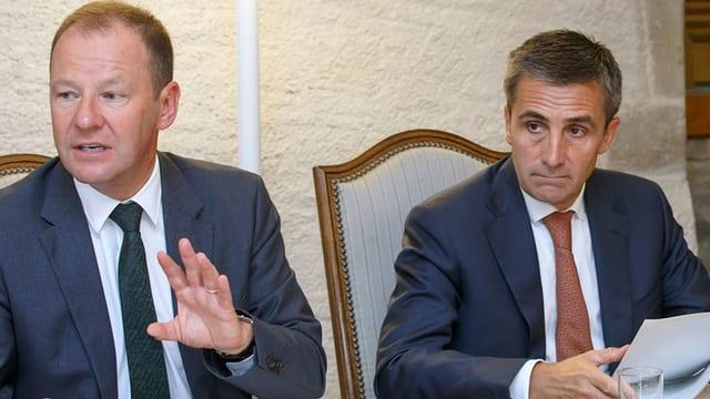 Serge Dal Busco und François Longchamp an der Medienkonferenz in Genf
