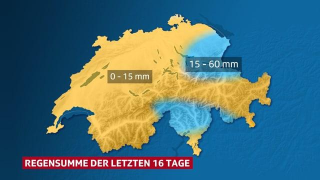 Regensumme Schweiz. Im Tessin und an den östlichen hat es geregnet, sonst ist es seit zweieinhalb Wochen trocken.