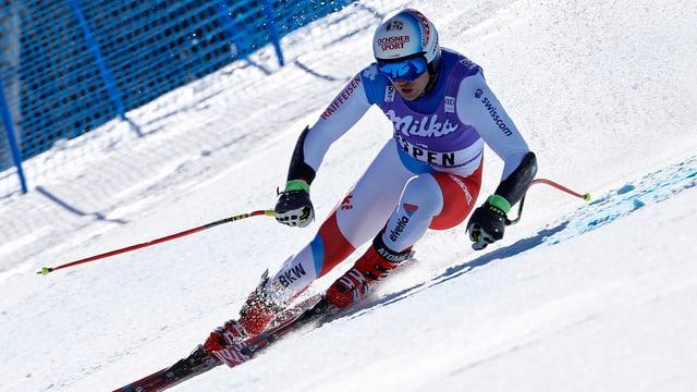 Il skiunz grischun Mauro Caviezel durant ina cursa ad Aspen.