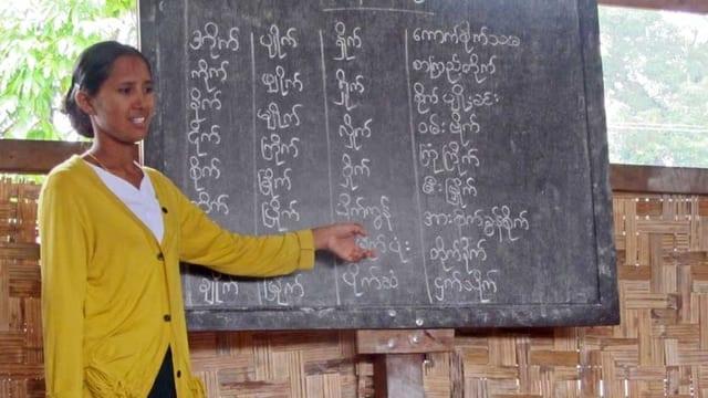 Eine Lehrerin zeigt ihren Schülern etwas an der Wandtafel
