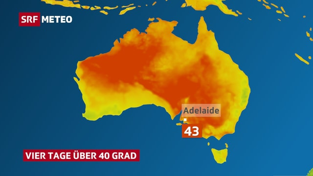Australienkarte, rote Fläche in der MItte und im Süden. Adelaid ist mit 43 Grad angeschrieben.