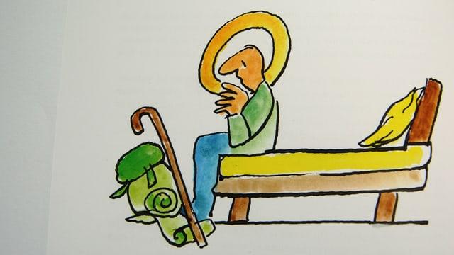 Cartoon zeigt Pilger mit Heiligenschein