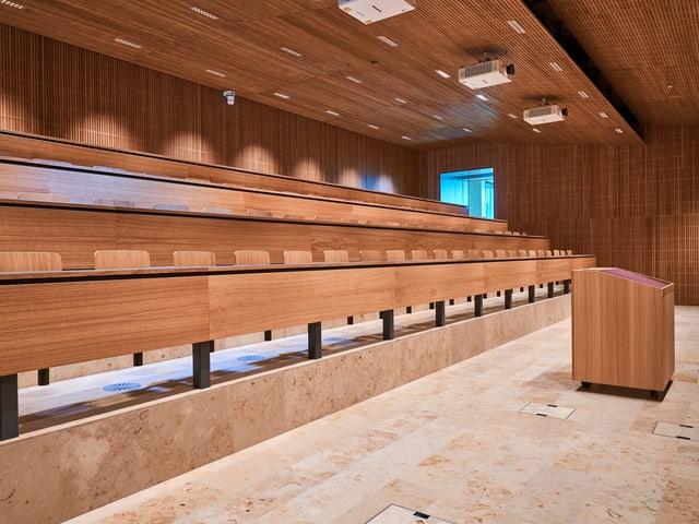 Ein Hörsaal eines neuen Campus der Hochschule Luzern.