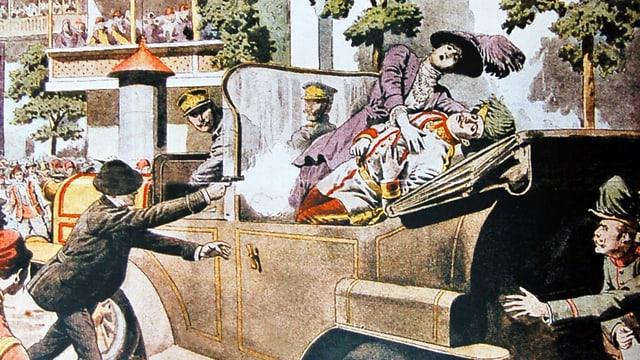 Ein Mann mit einer Pistole steht neben einer Kutsche.