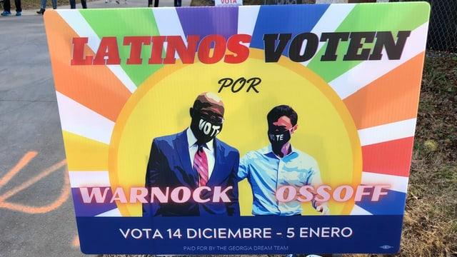 Ein spanisches Wahlschild an der Beltline (Spaziermeile) in Atlanta fordert Latinos auf, für die Demokraten zu wählen.