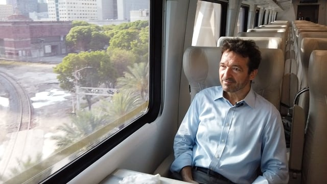 Alfred Mettler im Zug in Miami