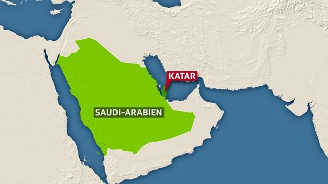 Karte Saudi-Arabien und Katar