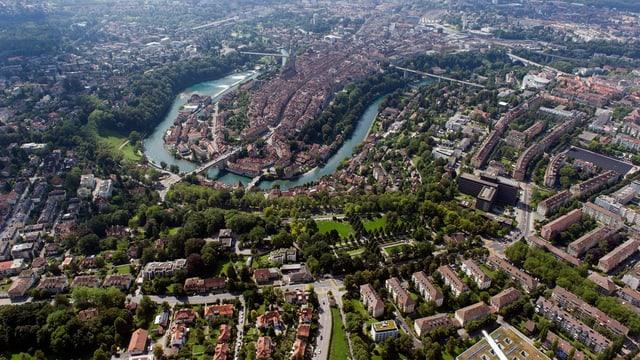 Eine Luftaufnahme der Berner Altstadt.