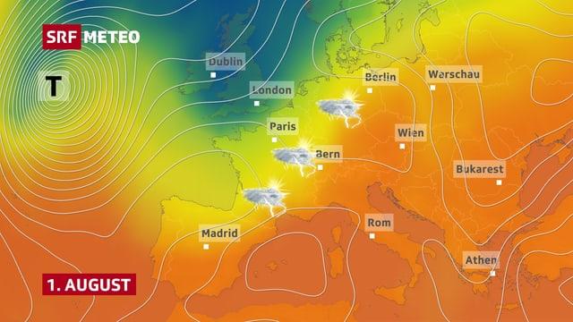 Wetterlage am 1. August: Knapp westlich der Schweiz lauert die Gewitterluft.