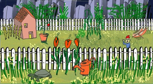 Illustration eines eingezäunten Gartens mit Blumen, Gartenzwerg und Schildkröte.
