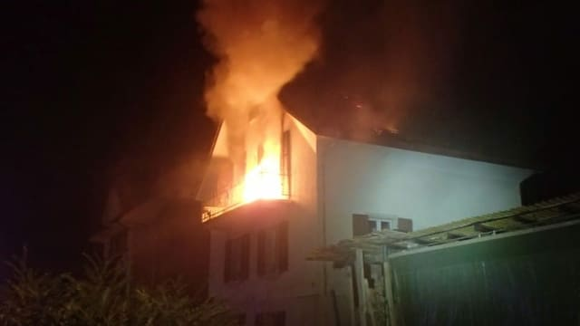 Brand in Haus