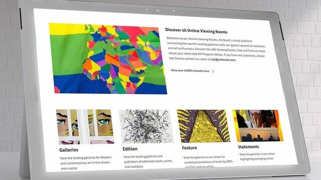 """Website mit Bildern von Kunstwerken und dem Titel """"Discover all Online Viewing Rooms"""""""
