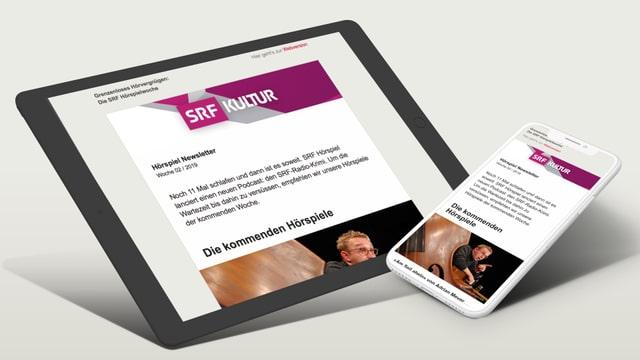 Der SRF Hörspiel-Newsletter wird auf einem Tablet und Mobiltelefon dargestellt