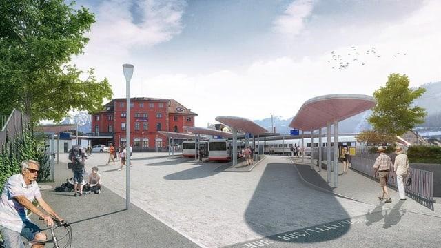 Eine Visualisierung des neuen Bahnhofplatzes Arth-Goldau.