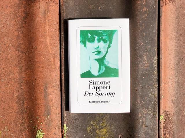 Der Roman «Der Sprung» von Simone Lappert liegt auf einem Ziegel.