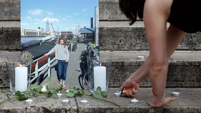 Eine Frau zündet Kerzen vor einem Bild von Jo Cox an