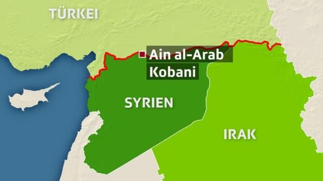 Kartenausschnitt mit Syrien, Irak und der Türkei.