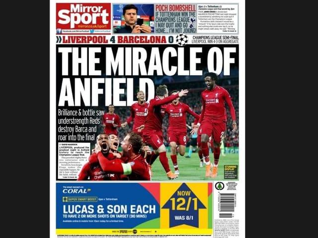 Schlagzeile einer englischen Zeitung