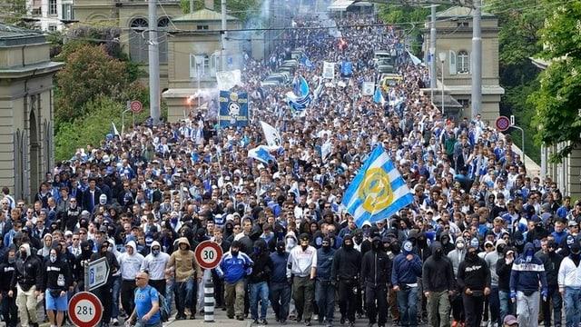 Ausschreitungen von GC-Fans in Bern vor dem Cupfinal am Pfingstmontag.
