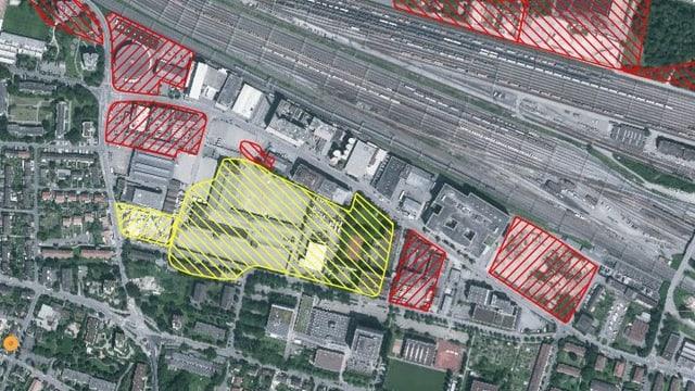 Luftbild der Deponie Feldreben in Muttenz, die schraffierten Flächen zeigen den Grad der Verschmutzung an.