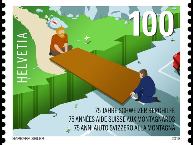 Sonderbriefmarke zu Ehren des 75-jährigen Bestehens der Schweizer Berghilfe